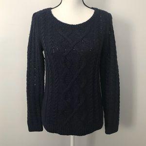 Ann Taylor LOFT Navy Cable Knit Crewneck Sweater